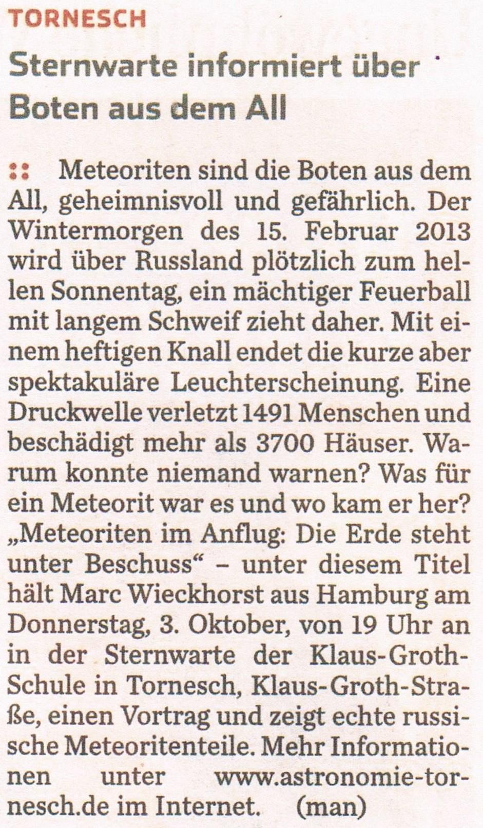 Ankündigung im HH-Abendblatt am 28.09.2013