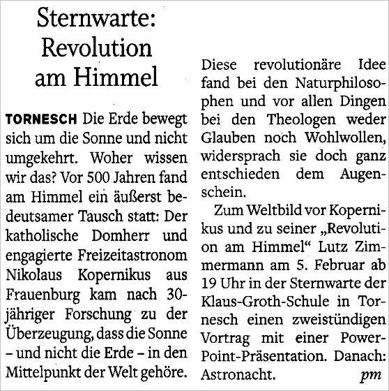 Ankündigung im Pinneberger Tageblatt