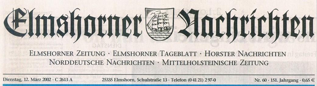 Bericht in den Holsteiner Nachrichten am 12.03.2002 I