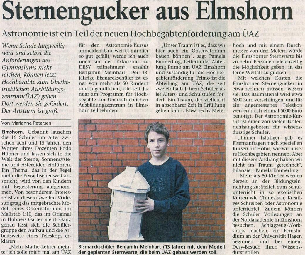 Bericht in den Holsteiner Nachrichten am 12.03.2002 II