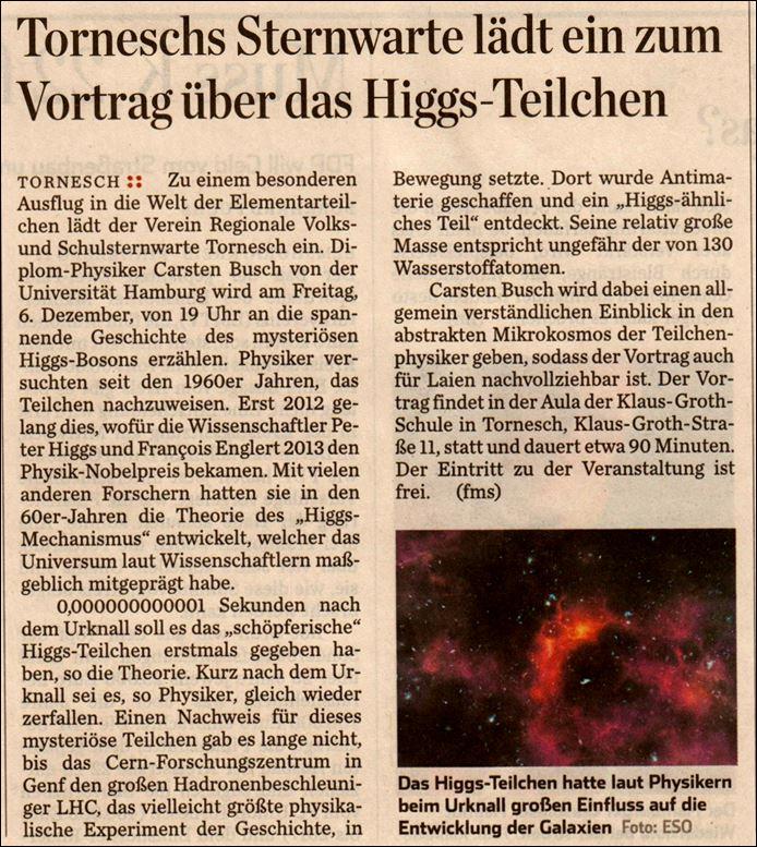 Higggs Votrag Ankündigung Pineneber Zeitung als Beilage HH Abendblatt