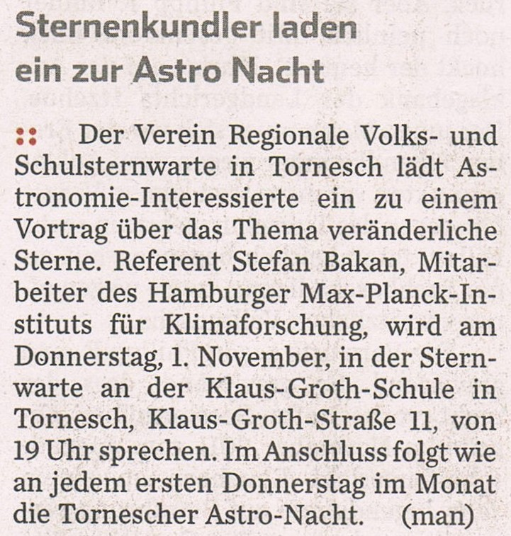 Ankündigung im HH Abendblatt am28.10.2012
