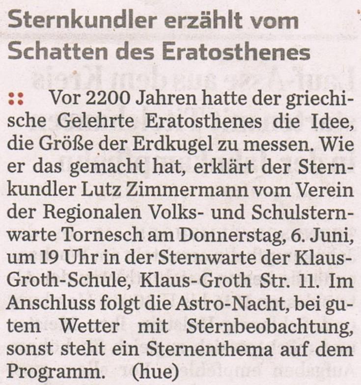 Ankündigung im PI.Tageblatt am 01.06.2013