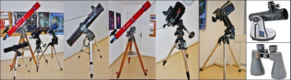 """von links: Teleskop Gruppe, 4.5"""" Newton auf Meade GT, Lichtenknecker 5,5 """" Halbapochromat auf AOK WAM, C 8 auf Celestron AS-GT, Meade LX 10 8"""", Celestron First Scope und ein 15 x 70 Prismen Glas"""