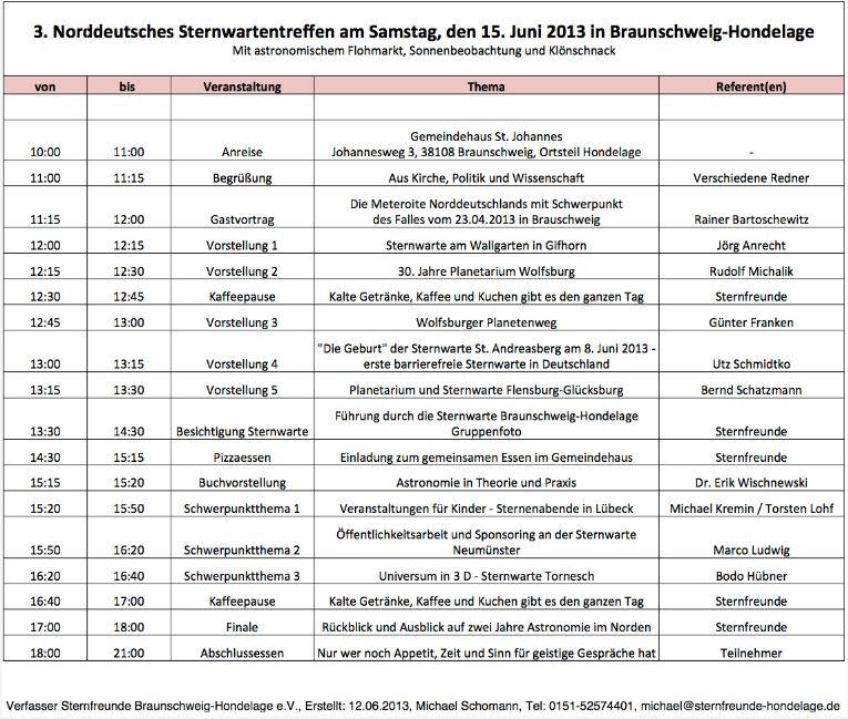 Programm 3.NST in Braunschweig am 15.06.2013