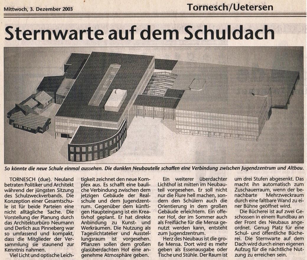 Ankündigung Neubau KGS mit Sternwwarte