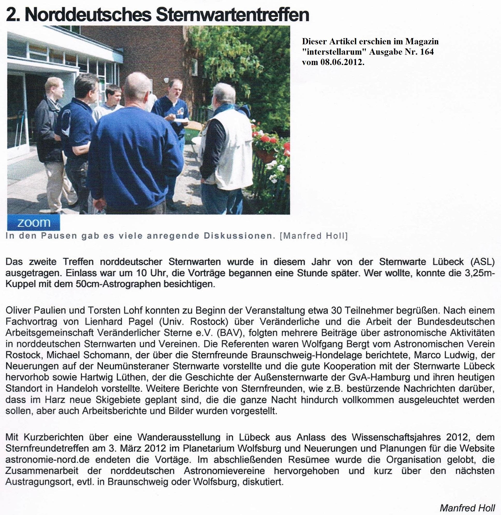 Bericht im Magazin interstellarum von M.Holl