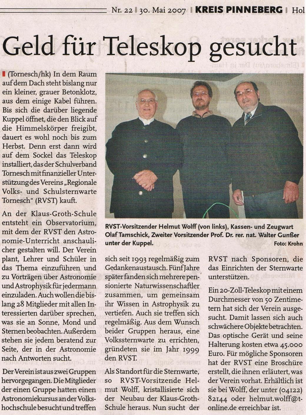 Bericht in den Holsteiner Nachrichten am 30.05.2007 - Kopie
