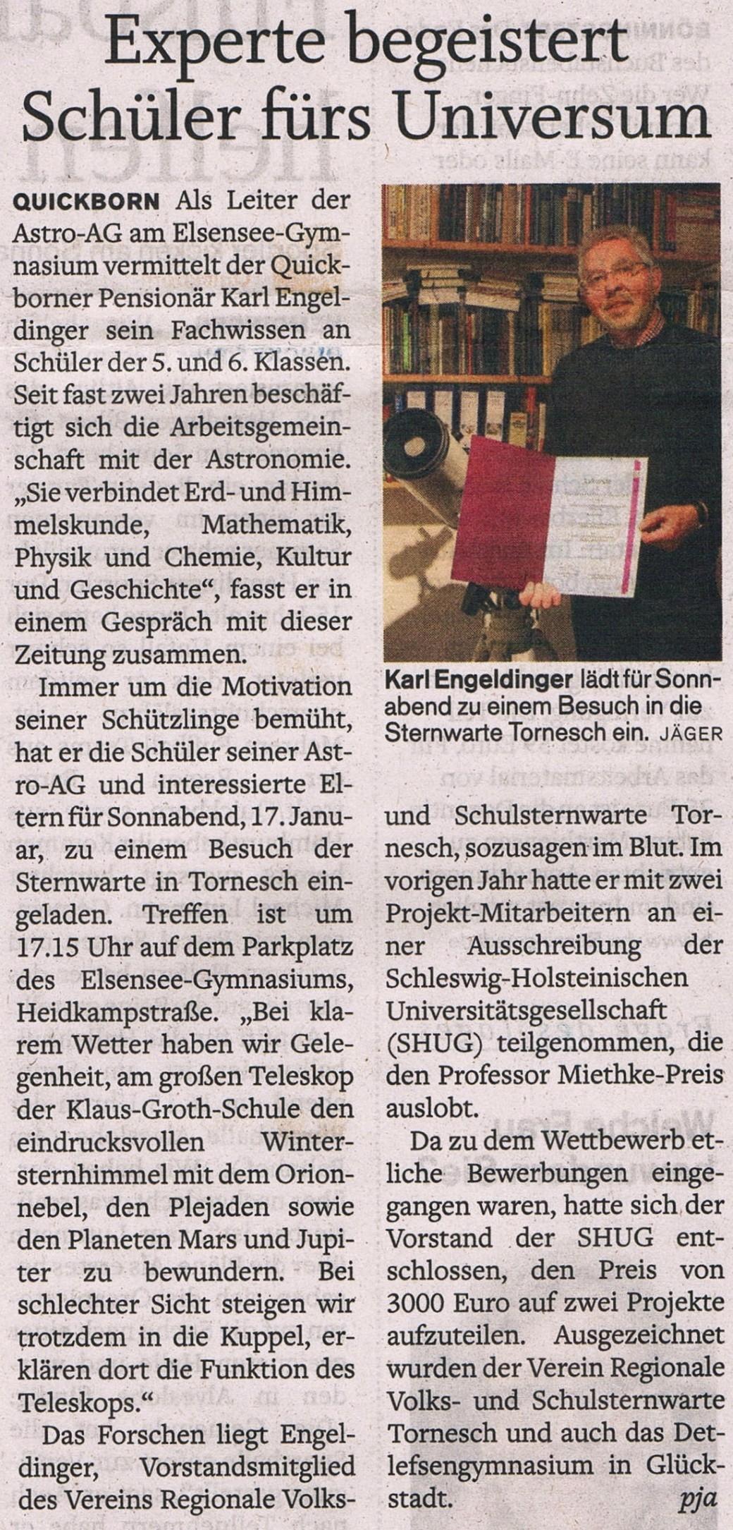 Quickborner Tageblatt 15.01.2015
