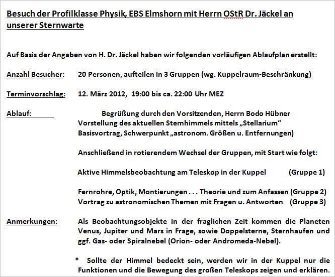 Ablaufplan Besuch ESB Elmshorn am 12.03.2014