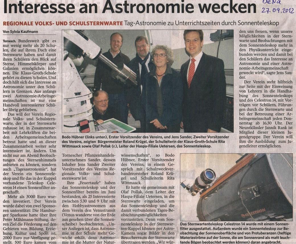 Bericht in der UENA am 27.09.2012 vom Presse Termin B