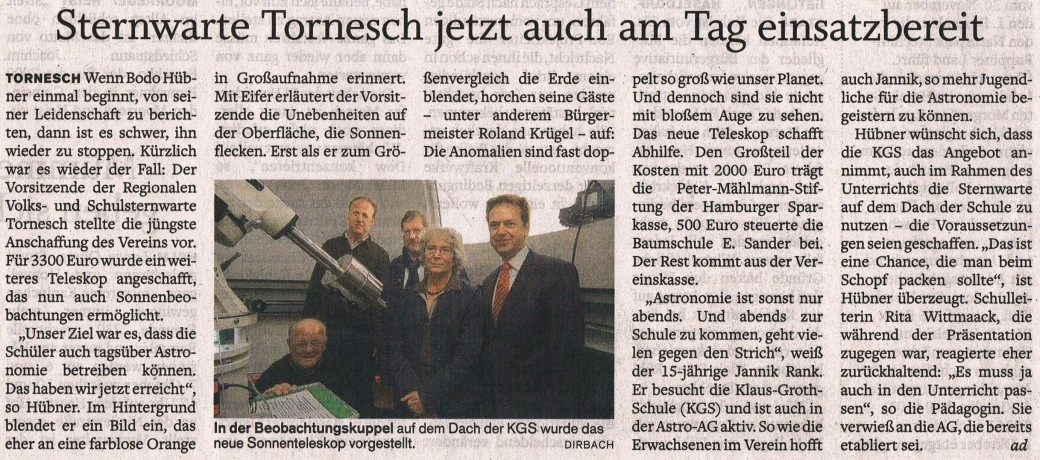 Presse Termin mit der Haspa am 25.09.2012 Bericht im Pinneberger  Tageblatt am 27.09.2012 B