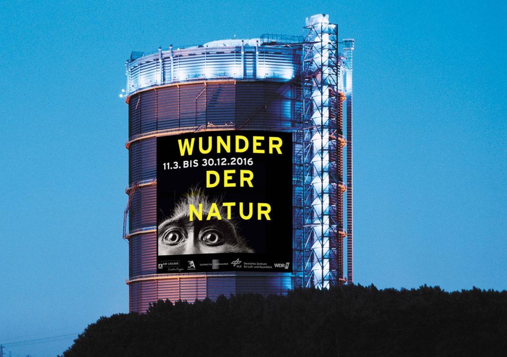 """Montage """"Wunder der Natur"""" im Gasometer OberhausenPlakat: Uwe Loesch unter Verwendung des Fotos """"Monkey"""" von Tim Flach"""